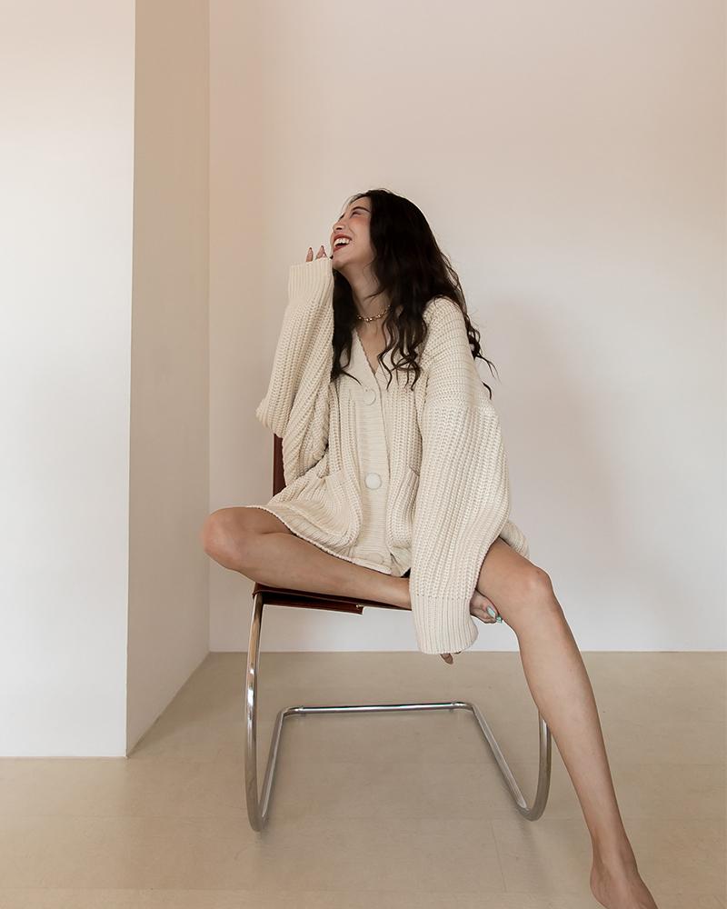 Mercci22+慵懶粗勾針織外套