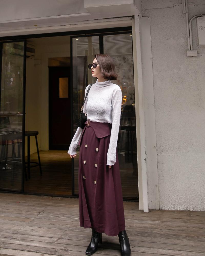 造型排釦長裙-Mercci22