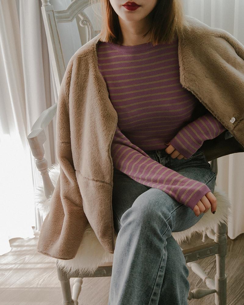 Mercci22+優雅色調條紋針織上衣