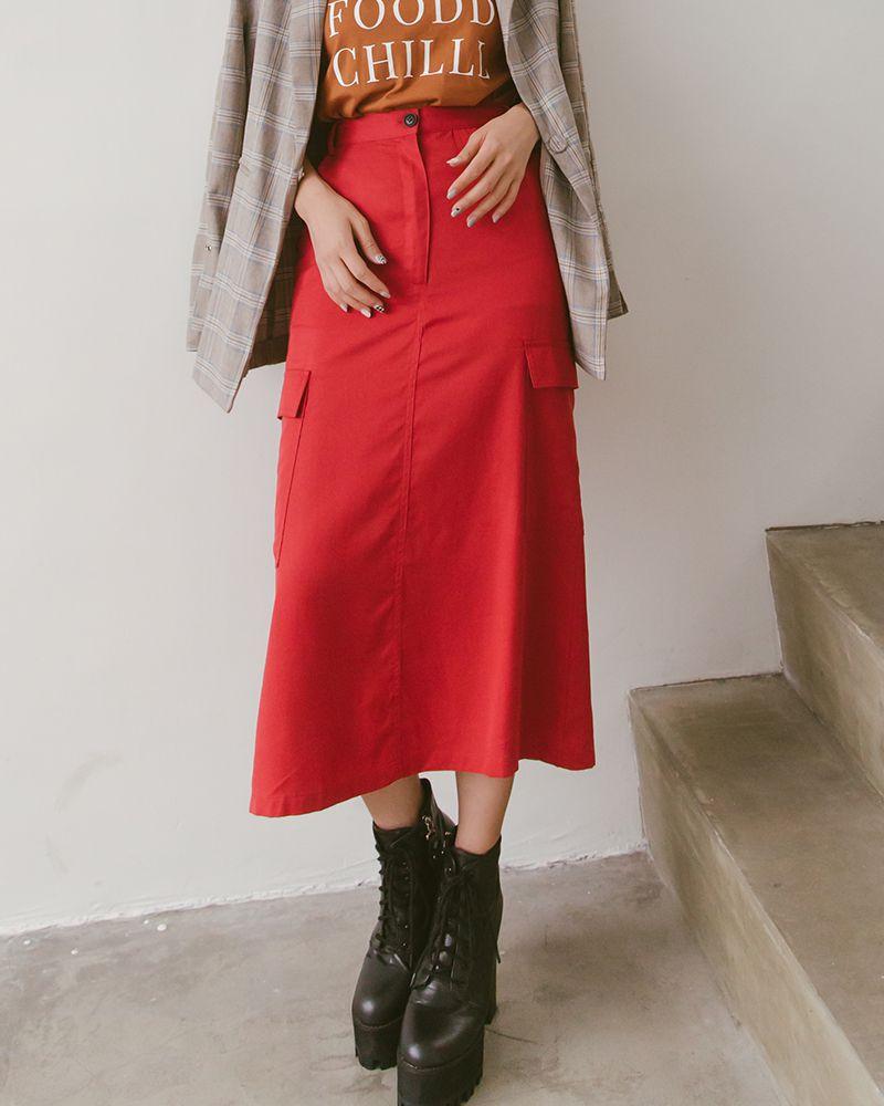 雙口袋復古造型長裙-Mercci22