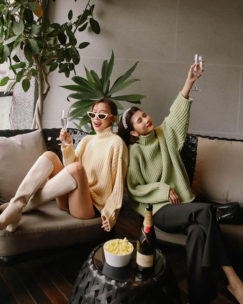溫暖寬鬆高領毛衣-Mercci22