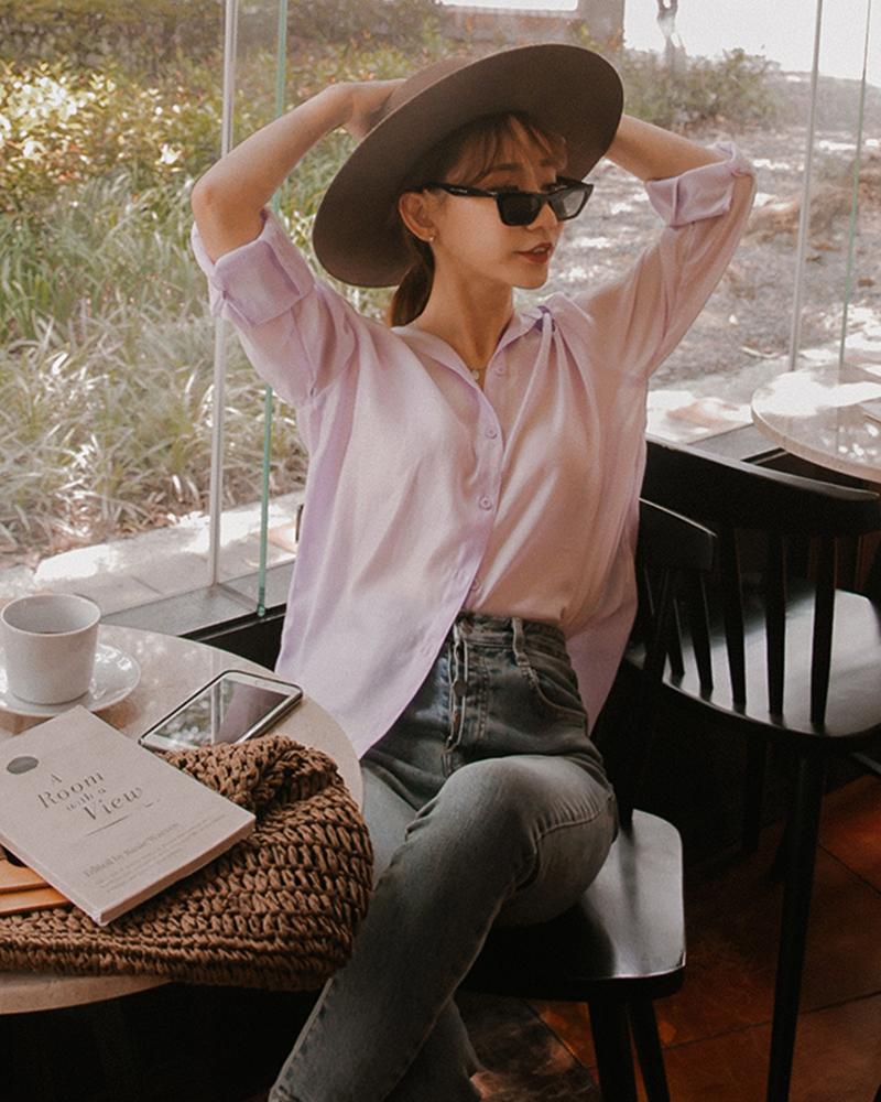 質感微透膚絲質襯衫-Mercci22