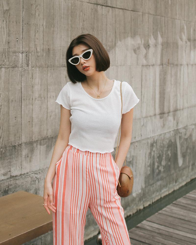 夏日編織紋短版上衣-Mercci22