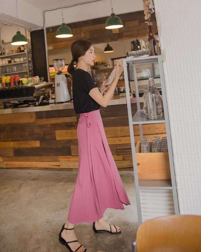 休閒綁帶棉質長裙-Mercci22