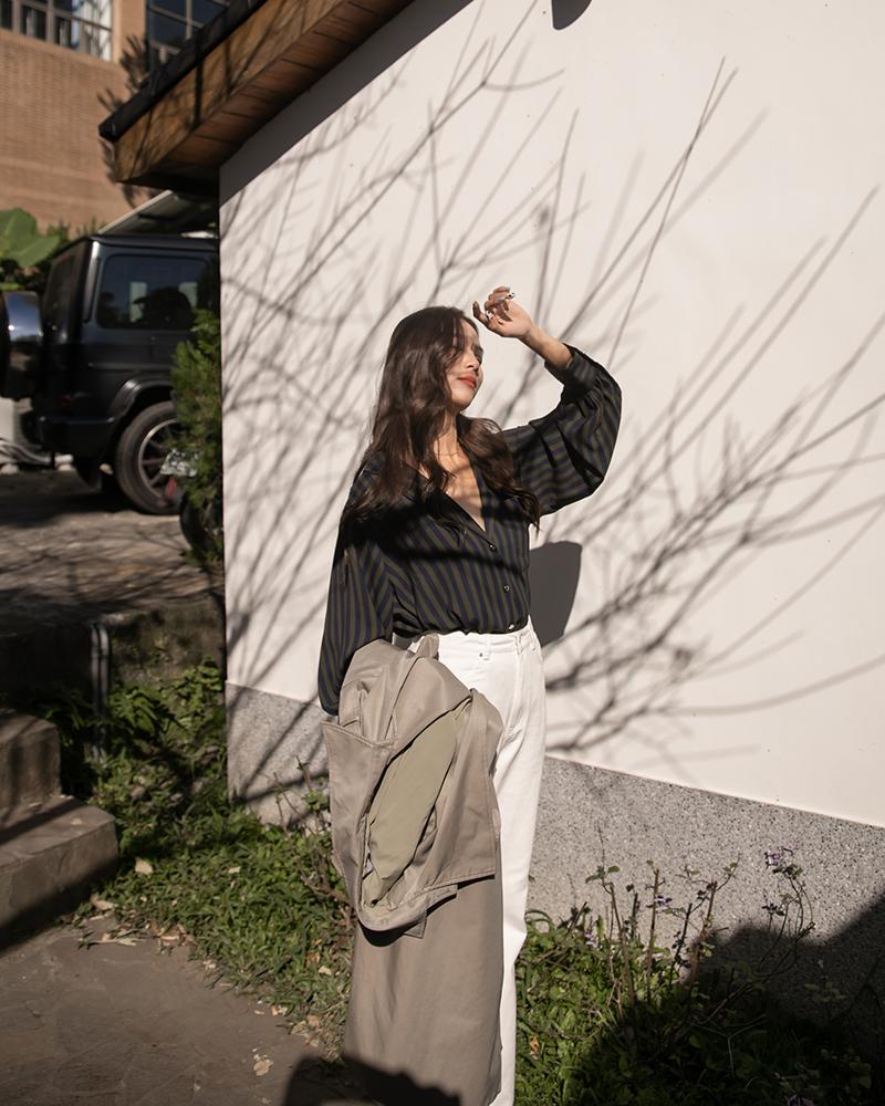 Mercci22+簡約直紋翻領襯衫