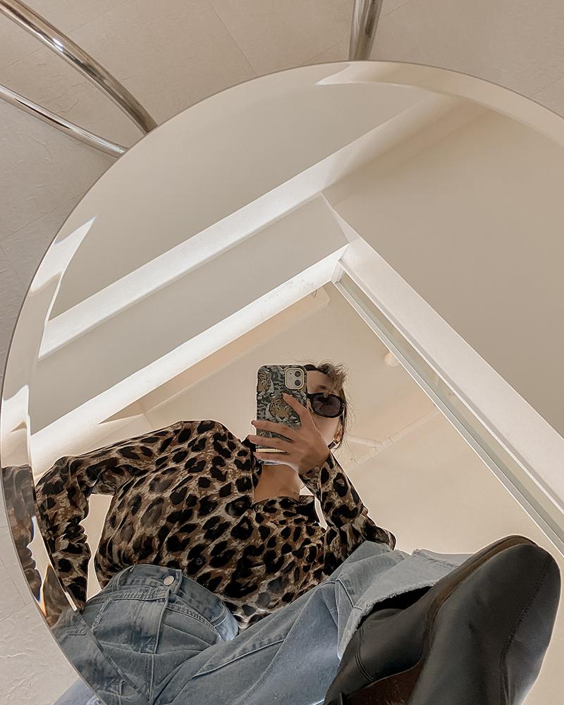 歐美豹紋微透襯衫-Mercci22