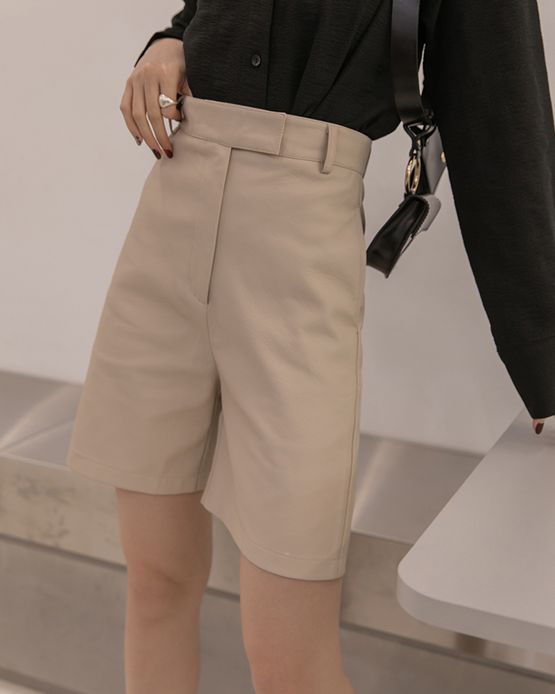 皮革直筒5分短褲-Mercci22
