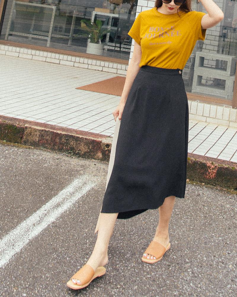 簡約斜片下擺設計長裙-Mercci22