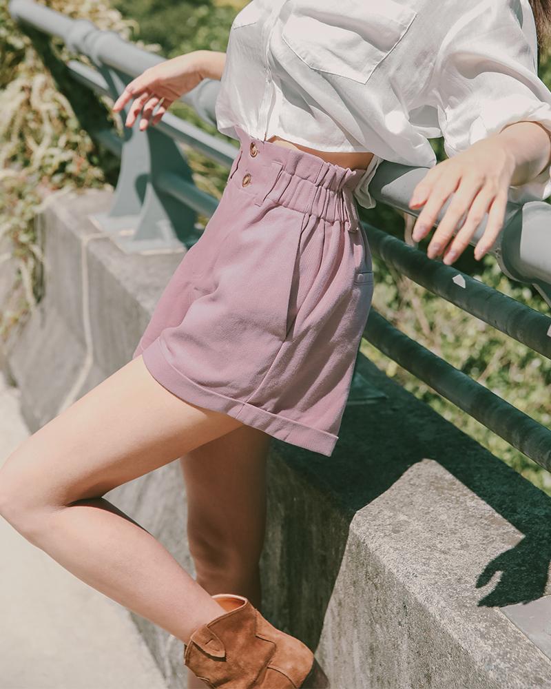 Mercci22+斜紋雙釦反摺短褲
