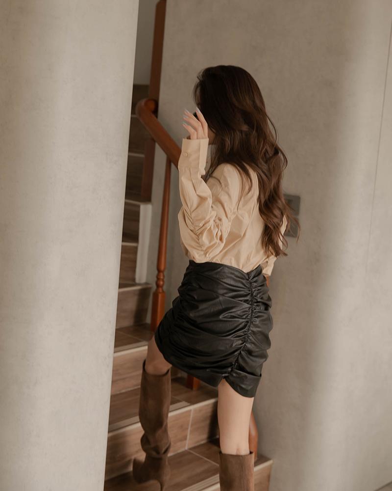 皮革抓皺造型短裙-Mercci22