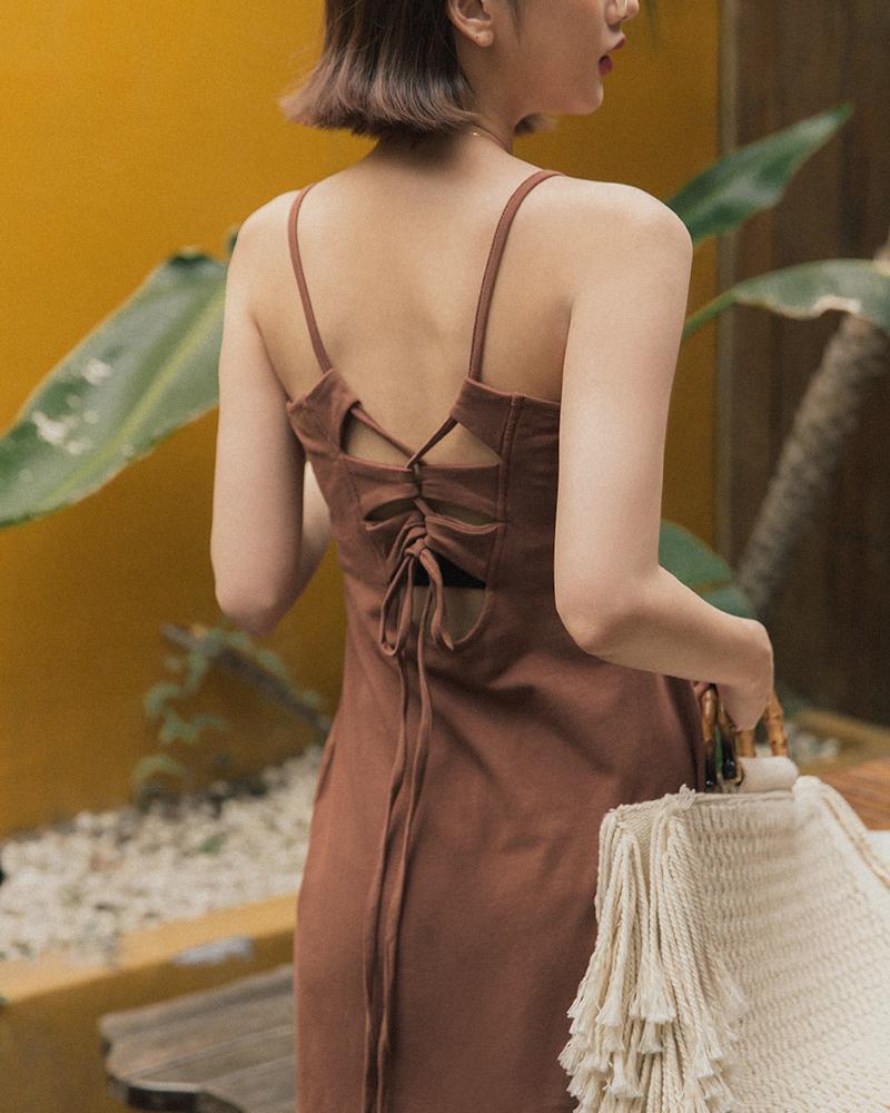 Mercci22+後綁繩美背棉質洋裝
