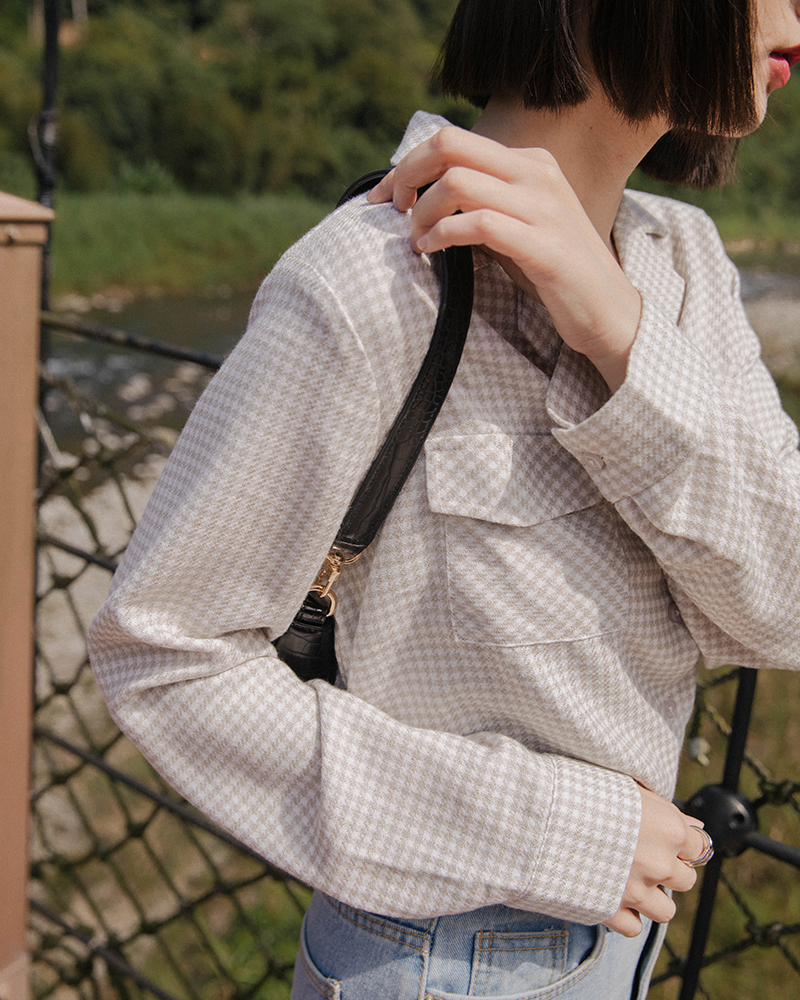 Mercci22+千鳥格紋口袋襯衫