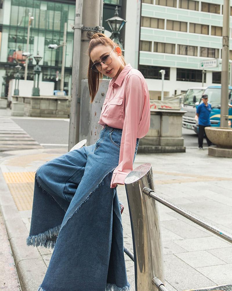 Mercci22+光澤感口袋絲緞襯衫