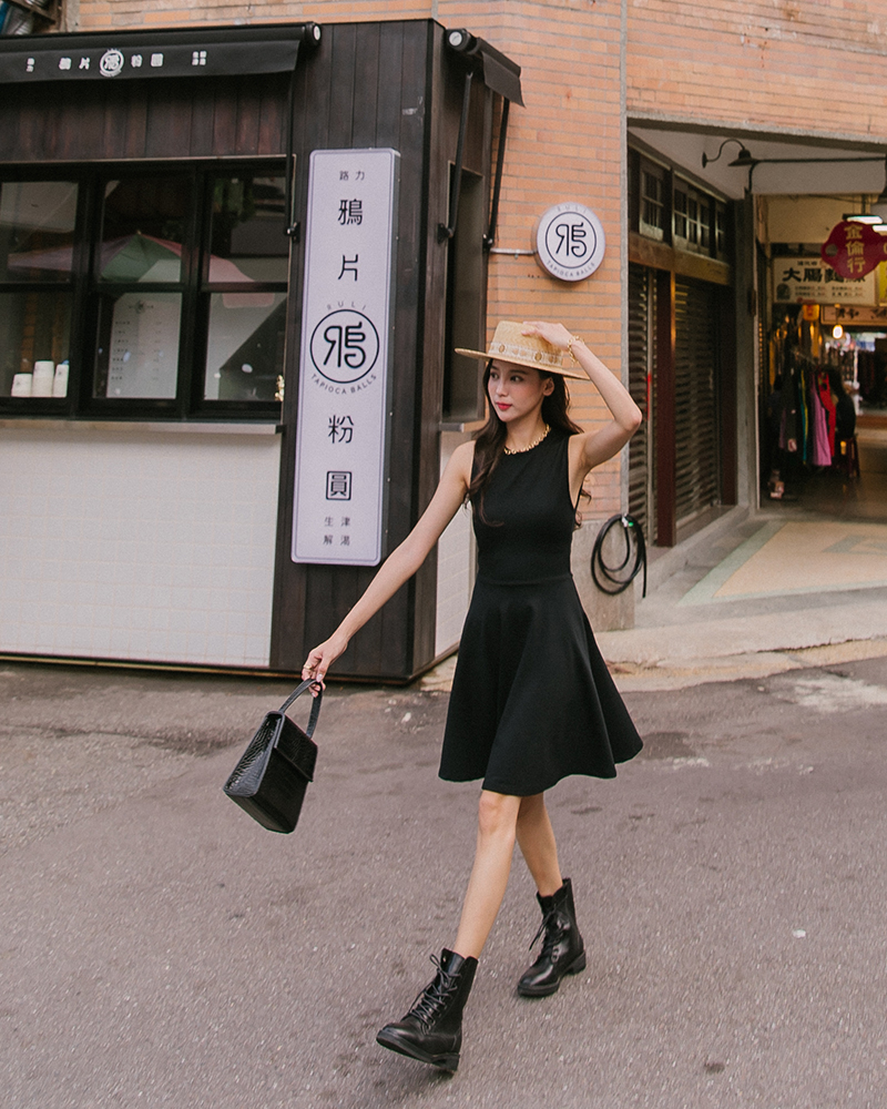 Mercci22+優雅削肩棉質洋裝