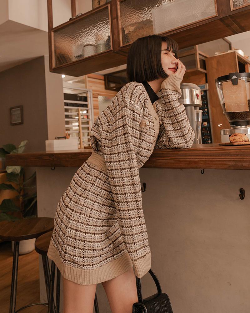 優雅交織紋路短裙-Mercci22