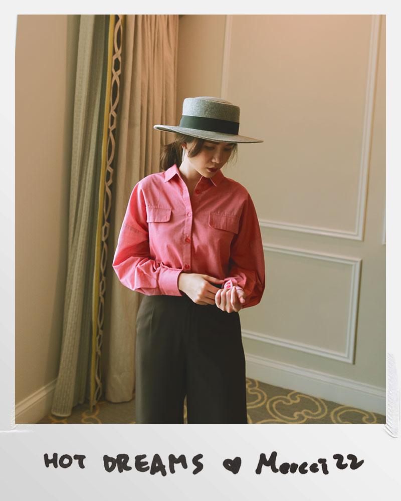 Mercci22+復古風澎袖襯衫
