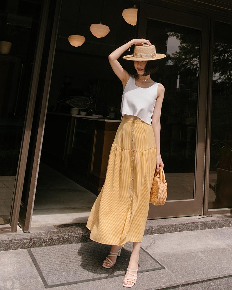 排釦抓皺直紋長裙-Mercci22