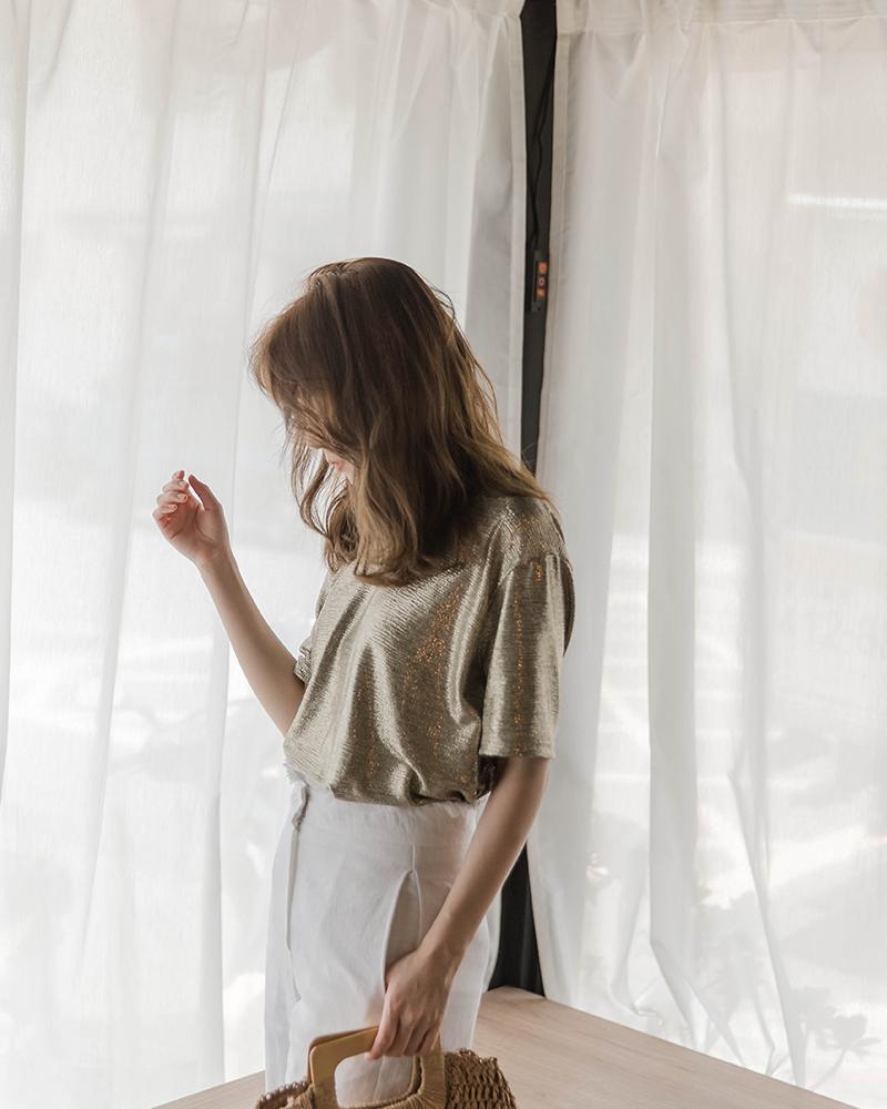 Mercci22+個性金屬短袖上衣