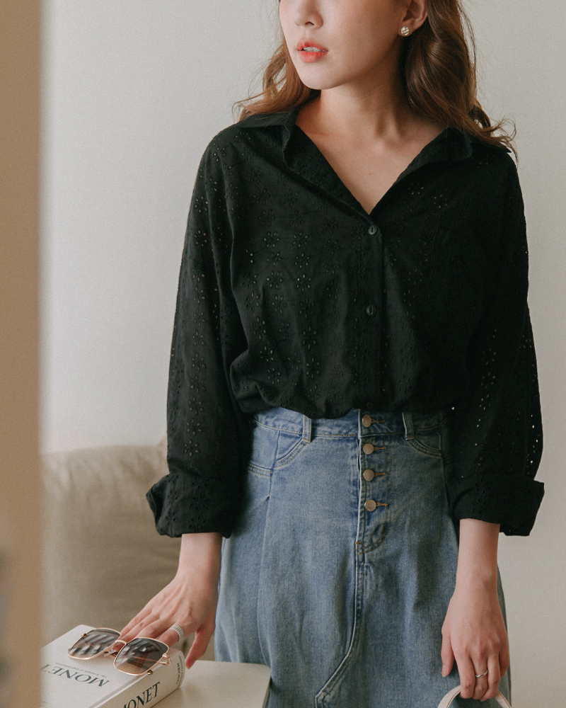 Mercci22+優雅雕花綁帶襯衫